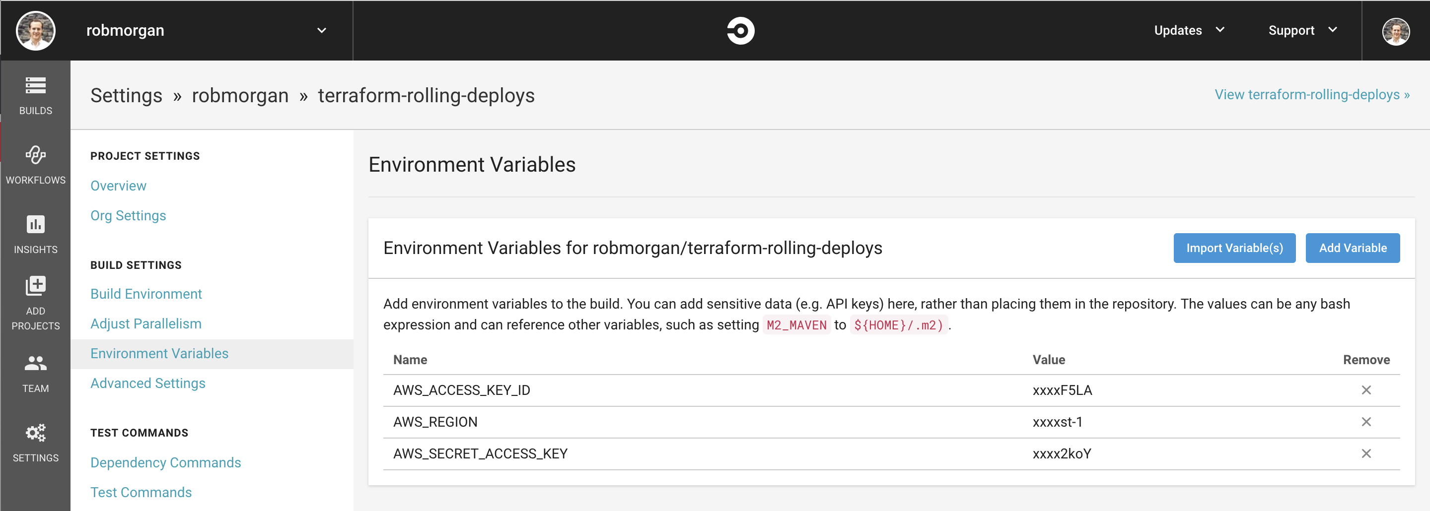 Add CircleCI Environment Variables